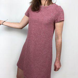 Aspesi Knit Striped Red Gray Short Sleeve Dress